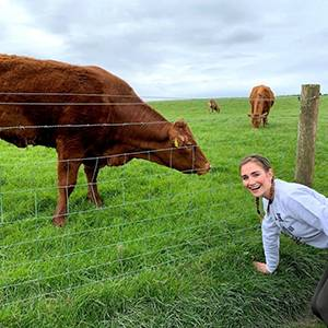 Claire Amat with cows